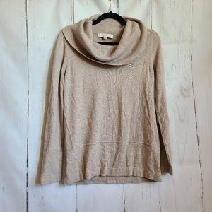 Loft cowl neck cream tan sweater longsleeve fall